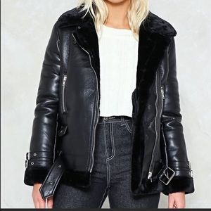 Faux leather and shearling aviator coat